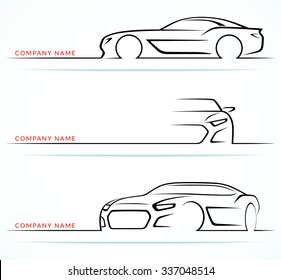 Set of sports car silhouettes isolated on white background. Front, 3/4 and side views. Vector illustration