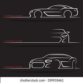 Set of sports car silhouettes isolated on black background. Front, 3/4 and side views. Vector illustration