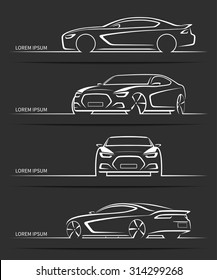 Set of sports car silhouettes. Modern abstract luxury automobile outlines / contours isolated on black background. Front, side and 3/4 views. Vector illustration