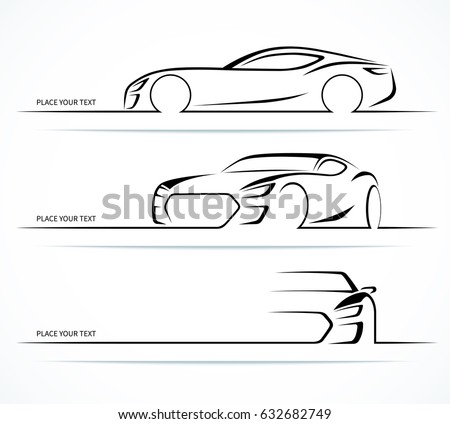 Set Sports Car Silhouettes Vector Illustration Stock Vector Royalty