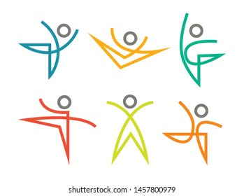 Set of sports and dancing icons vector