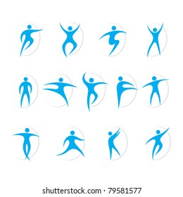 Set of sports and dancing symbols vector