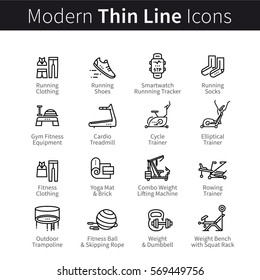 Set of sports & gym equipment like treadmills or trainers. Clothes, shoes, trainers for doing sport, cardio, fitness and yoga. Thin black line art icons. Linear style illustrations isolated on white.
