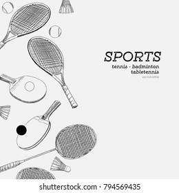 set of sports hand draw sketch vector. badminton , tennis and table tennis , sports vector set.