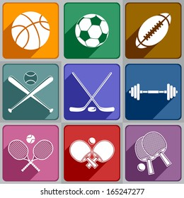Set of sports icons of different color.