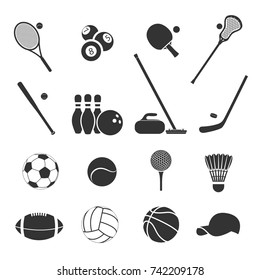 Set of sports inventory. Black vector icons on a white background.