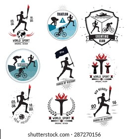 A set of Sports logos, emblems and design elements. The runner with the torch. Emblems and signs of the triathlon.