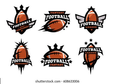 Set of sports logos, games in American football.