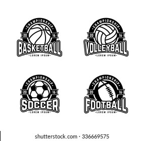 Set of sports logos soccer, american football, volleyball, basketball. Vector abstract isolated illustration. Black and White.