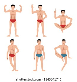 Set of sports men people flat icons