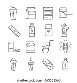 Set of sports nutrition Related Vector Line Icons. Includes such Icons as protein shake, vitamins, amino acids, sports, proteins, carbohydrates, weight, dietary supplements, food additives
