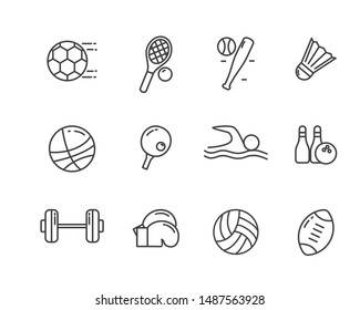 Set of sports related vector illustration with simple line design suitable for icon or doodle.