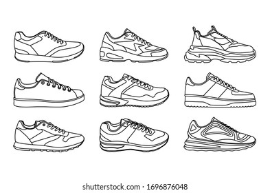 set of sports shoes on a white background