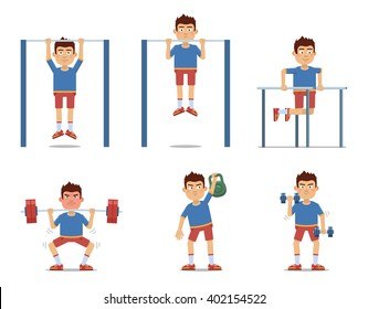 Set of sportsman making different physical exercises. Cheerful sportsman making pull-ups, push ups, workout, weight lifting, barbell, dumbbell training. Flat style vector illustration