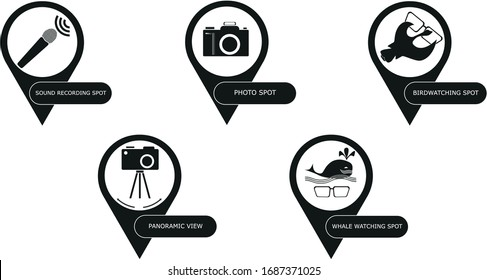 Set of spot icons. Five pointers for birdwatching, whalewatching, nature sound recording, photografing, and panoramic veiw