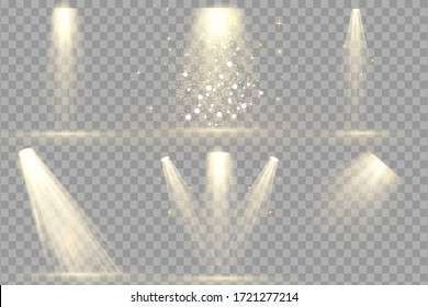 Set of Spotlight isolated . Vector glowing light effect with gold rays and beams. Scene illumination collection, transparent effects. Bright lighting with spotlights.