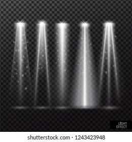 Set of spotlights with light effect shining. white light beams on transparent background vector illustration.