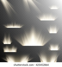 Set of Spotlights. Scene. Warm white light effect on transparent background. EPS 10 vector file included