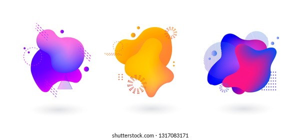 Set of spots with abstract elements for trendy blue, yellow and pink color design, vector illustration on isolated background.