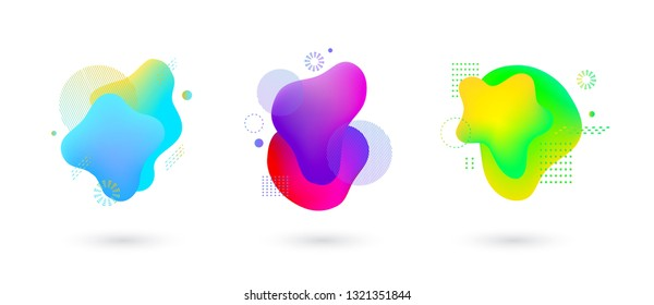 Set of spots with abstract elements for trendy blue, yellow and green color design, vector illustration on isolated background. Absract fluid gradient spots with geometric symbols set.