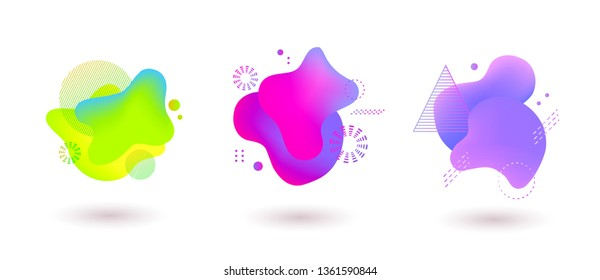 Set of spots with abstract elements for trendy green, purple and pink color design, vector illustration on isolated background.