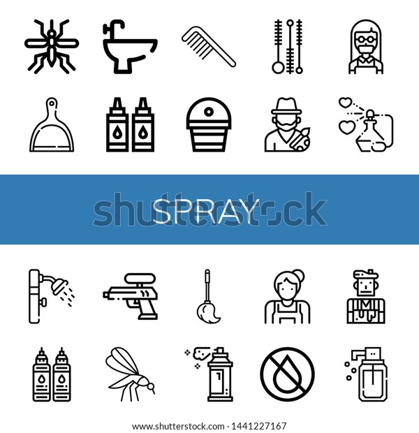Set Spray Icons Such Mosquito Dustpan Stock Vector Royalty Free 1441227167