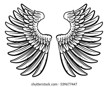 Set of spread out  eagle bird or angel wings