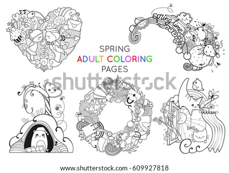Set Spring Adult Coloring Pages Template Stock Vector Royalty Free