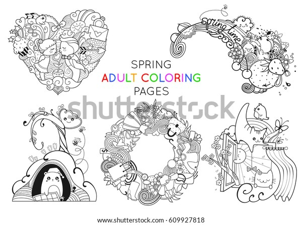 Set Spring Adult Coloring Pages Template Stock Vector