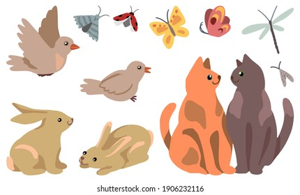 Set of spring animals isolated on white. Hand drawn vector stock illustrations. Colored cartoon doodles. Drawings of cute cats couple, rabbits, birds, insects. For design, postcard, print, stickers.