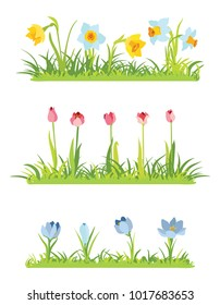 Set of spring april flowery borders for Easter decoration, Grass and narcissus border, tulips frame, crocus background