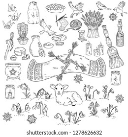 Set of spring doodles. Beginning of spring symbols. Imbolc wiccan holiday sketch doodles. Brigids cross, groundhog, snowdrops, cleaning, sheaf of wheat, lamb, candles