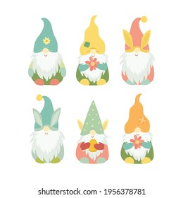 set of spring easter gnomes. cute gnome characters in bright colors, easter eggs and cakes