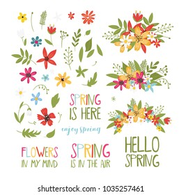 Set of spring elemens. Flowers, leaves and sring lettering. Srping collestion design elements for scrapbooking, web banner, card, poster, cover, tag, invitation, sticker and ather. Vector illustration