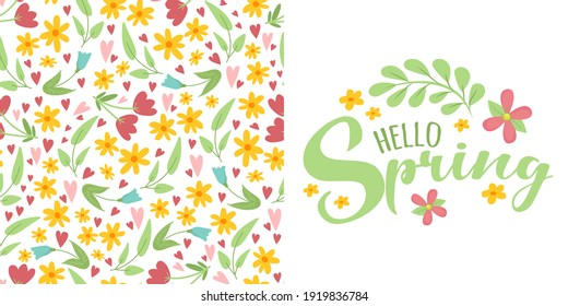 Set of spring floral pattern with  flowers and leaves on white background and script lettering text Hello Spring. Cute natural background. Idea for fashion springtime textile design, banner.