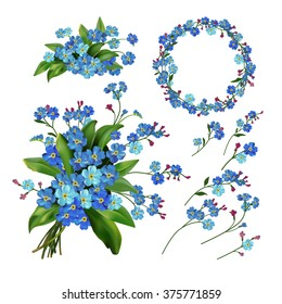 The set of Spring Flowers. Forget me not flowers. Spring vector illustration isolated on white background. Single flower, wreath, bunch, branches and bouquet flowers. Floral elements.
