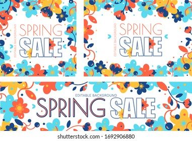 Set of spring frame of flowers with copy space. Used for web or print templates.