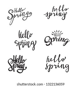 set of spring hand lettering typography vector