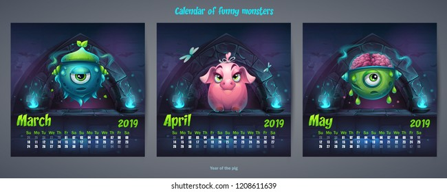 Set of spring months calendar 2019. For web, video games, user interface, design, print