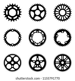 Set of sprocket wheel icons. Bicycle parts. Silhouette vector