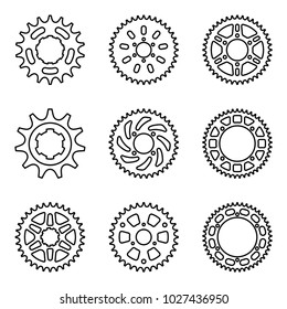 Set of sprocket wheel icons. Vector thin line