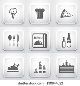 Set of square application buttons: restaurant
