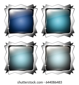 Set of square backgrounds with a silver frame, with space for your text. Vector illustration.