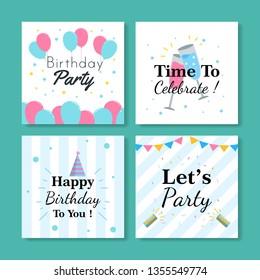 Set of square birthday greeting cards. Vol.5