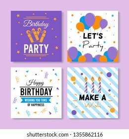 Set of square birthday greeting cards. Vol.12