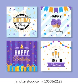Set of square birthday greeting cards. Vol.10