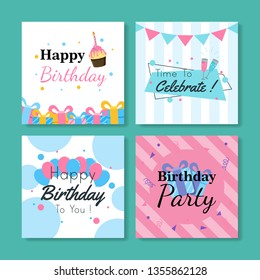 Set of square birthday greeting cards. Vol.8