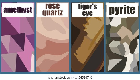 Set of square brochures with the image of the surface of the four minerals. Rectangle template brochure, report, catalog, magazine. Abstract background. Vector illustration.