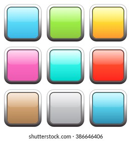 Set of square buttons