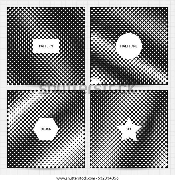 Set of square cards size with halftone patterns in black and white colors.Vector business templates for flyer, card, brochure, cover, etc.